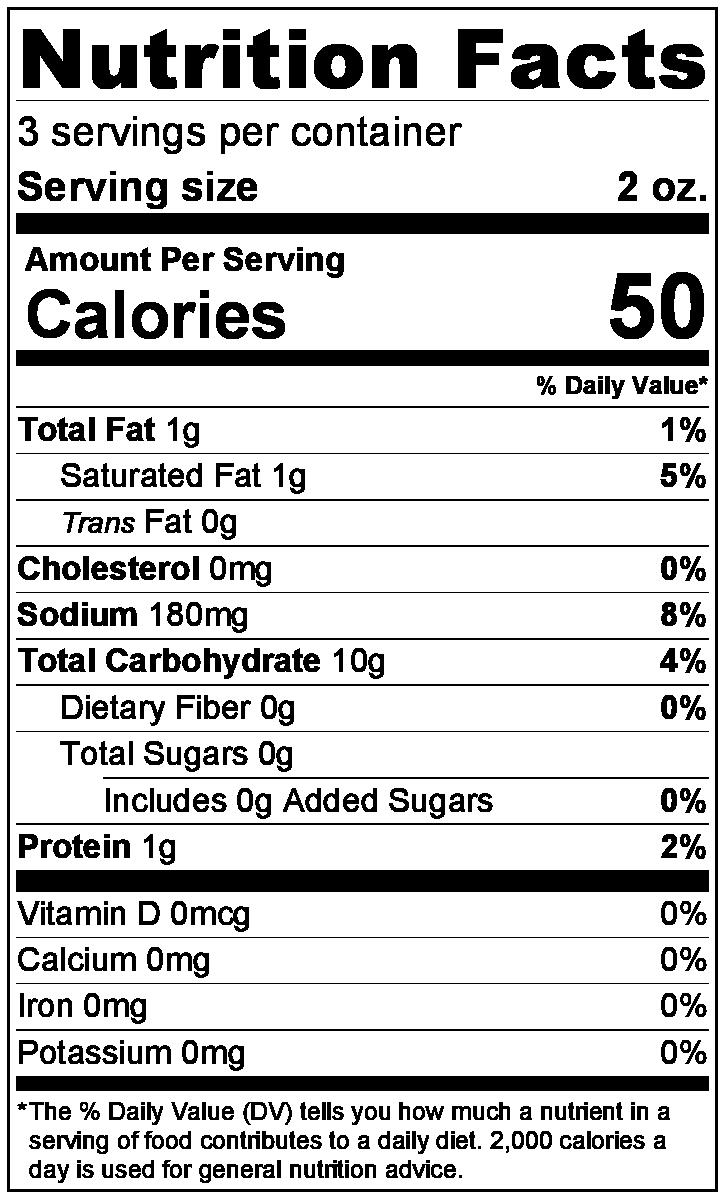 Saltines Nutrition Label